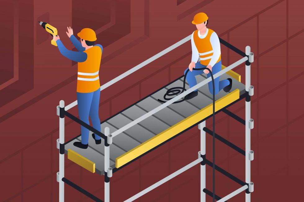 Illustration constructeurs sur bannière d'échafaudage.