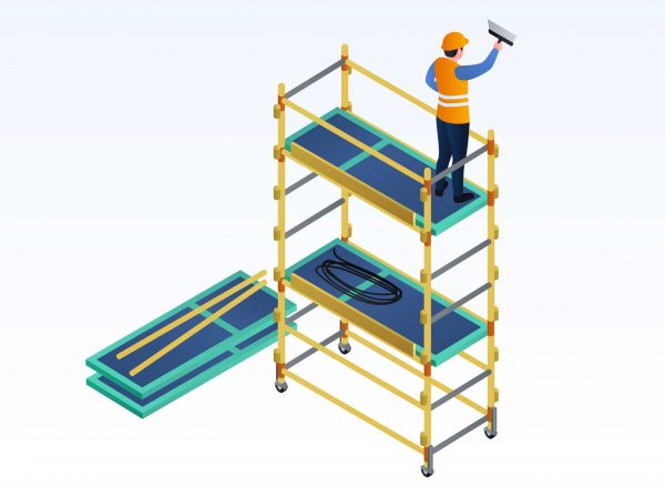 Worker putty on scaffold banner. Isometric illustration of worker putty on scaffold vector banner for web design